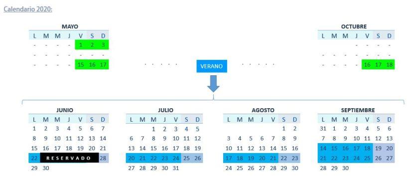 calendar 2020 findes y semanas